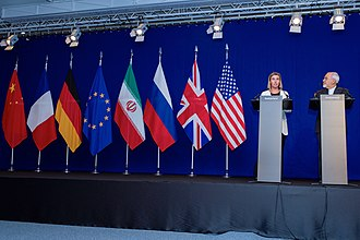 News conference - Image: Negotiations about Iranian Nuclear Program EU High Representative Mogherini and Iranian Foreign Minister Zarif Address Reporters in Lausanne