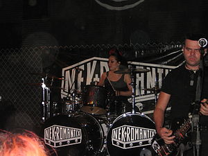 Nekromantix - Guitarist Francisco Mesa (right) joined the band in 2009, while drummer Lux (center) joined in 2010.