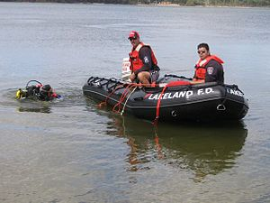 Public safety diving - Nesconset fire department scuba rescue team on training exercise