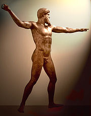 Bronze Sculpture, thought to be either Poseidon or Zeus, c. 460 B.C, National Archaeological Museum, Athens. This masterpiece of classical sculpture was found by fishermen in their nets off the coast of Cape Artemisium in 1928. The figure is more than 2 m in height.