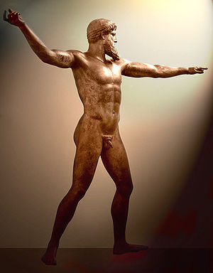 Bronze - The Artemision Bronze representing either Poseidon or Zeus, c. 460 BC, National Archaeological Museum, Athens. This masterpiece of classical sculpture was found by fishermen in their nets off the coast of Cape Artemisium in 1928. The figure is more than 2 m in height.