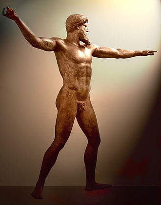 Classical Greece - Artemision Bronze, thought to be either Poseidon or Zeus, c. 460 BC, National Archaeological Museum, Athens. Found by fishermen off the coast of Cape Artemisium in 1928. The figure is more than 2 m in height.