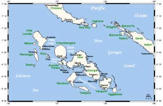 New Georgia - A map of the New Georgia Islands.