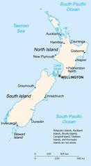 Mapa Nowej Zelandii