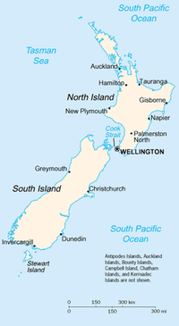 A map showing the major cities and towns of New Zealand.