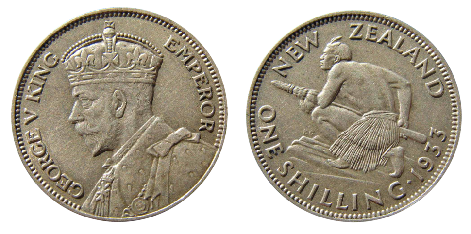 New Zealand shilling coin, 1933, featuring a profile of King George V