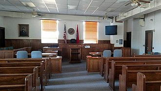 Newton County, Arkansas - Courtroom interior at the Newton County Courthouse