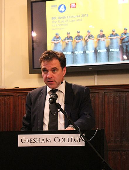 Niall Ferguson recording the third of his 2012 BBC Reith Lecture at Gresham College Niall Ferguson recording the BBC Reith Lecture at Gresham College.jpg