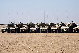 Niger Armed Forces - Nigerien Panhard AML light armored cars with 90mm guns stand in a holding area during Operation Desert Shield.