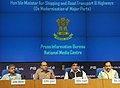 Nitin Gadkari addressing a press conference on Modernisation of Major Ports, in New Delhi. The Secretary, Ministry of Shipping, Shri Rajive Kumar and the Director General (M&C), Press Information Bureau.jpg