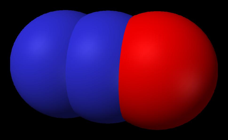 Space-filling model of nitrous oxide
