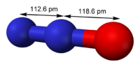 Ball-and-stick model with bond lengths