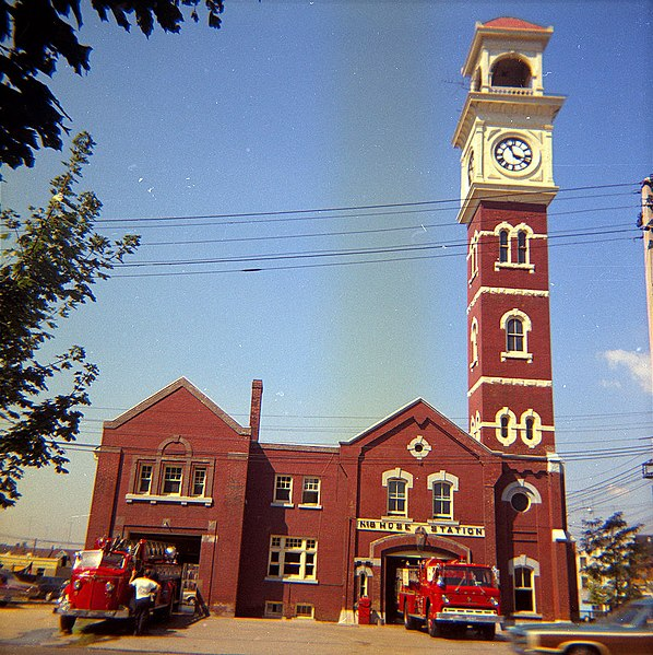 File:No. 8 Firehall, one year before fire, showing old building with clock (4547149978).jpg