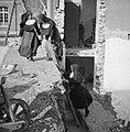 Nonnen op ladder tegen taluud van kelder, Bestanddeelnr 191-1173.jpg