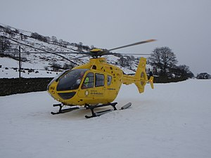North West Air Ambulance - One of the air ambulances attending an incident in severe weather conditions.