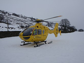 North West Air Ambulance - One of the air ambulances attending an incident in snowy weather conditions.