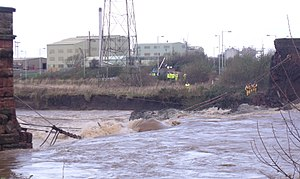 2009 Great Britain and Ireland floods - Northside Bridge over the River Derwent in Workington, seen here before and after it was destroyed