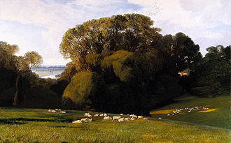 "Nuneham Courtenay - ""A Nuneham pasture"", 1860 painting by Edward Lear."