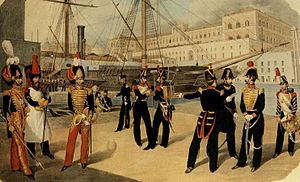 Real Marina (Kingdom of the Two Sicilies) - Officers of the Real Marina in Naples.