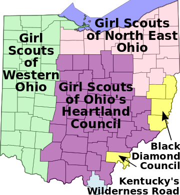 Map of Girl Scout Councils in Ohio