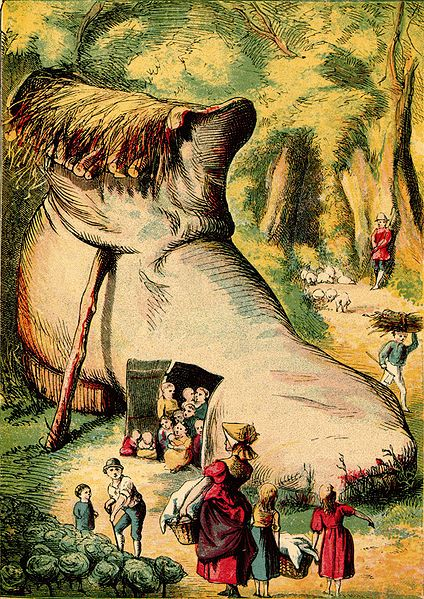 Old Woman who lived in a shoe-Kronheim. c1875.  Wikipedia.