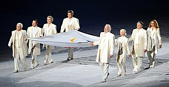 Donald Sutherland - Several notable Canadians, including Sutherland (right front), carrying the Olympic flag at the 2010 Winter Olympics opening ceremony in Vancouver