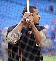Orioles outfielder Adam Jones takes batting practice before the AL Wild Card Game. (30086439121).jpg