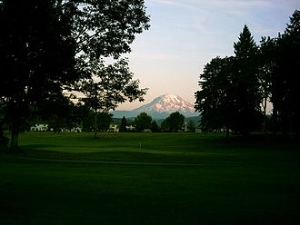 Orting, Washington - Mount Rainier as seen from the High Cedars Golf Course in Orting, bordering the Puyallup River