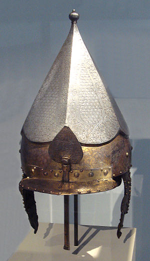 Ottoman–Mamluk War (1516–17) - Ottoman helmet, with markings of Saint-Irene arsenal, Constantinople, c. 1520, Musée de l'Armée