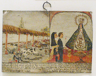 Ex-voto - Mexican votive painting of 1911; the man survived an attack by a bull, attributed to the care of Our Lady of San Juan de los Lagos.