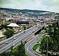 Pécs látképe a Tettye felé nézve, előtérben a Siklósi úti felüljáró. Fortepan 99556.jpg