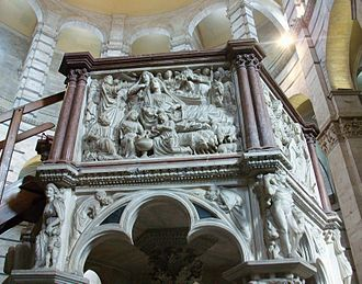 "Nicola Pisano - Pulpit (detail): the ""Nativity"" and Annunciation to the Shepherds"