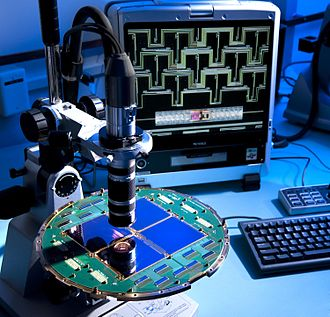 Gravitational wave - Now disproved evidence allegedly showing gravitational waves in the infant universe was found by the BICEP2 radio telescope. The microscopic examination of the focal plane of the BICEP2 detector is shown here.