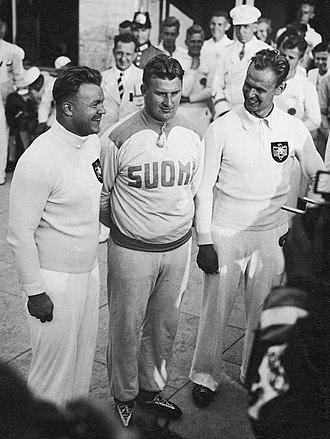 Athletics at the 1936 Summer Olympics – Men's shot put - Left-right: Woellke, Bärlund and Stöck