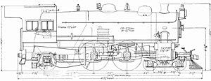 Pennsylvania Railroad class E6 - Dimensioned drawing of an E6s.
