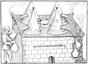 Rappresentazione di antiche apparecchiature utilizzate per ottenere essenze attraverso la distillazione.