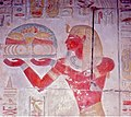 Painted Relief of Seti I offering a tray of food ... (36711531995).jpg