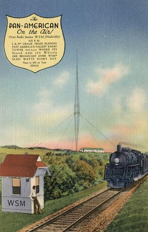 Pan-American (train) - Postcard of the Pan-American as it passed the WSM transmitter in Nashville.