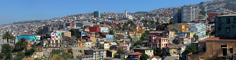 This is a panoramic view of some hills on the city of Valparaíso, in Chile.