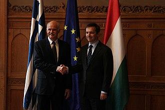 Gordon Bajnai - Greek PM George Papandreou with Bajnai in March 2010