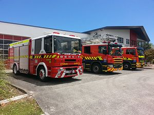 New Zealand Fire Service - Papatoetoe fire appliances line up at outside the front of their station in December 2015.