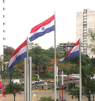 Flag of Paraguay - Three Paraguayan flags hoisted in a shopping mall in Asunción.