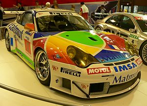 IMSA Performance - IMSA Performance Porsche 996 GT3-RSR being displayed at the 2006 Paris Motor Show.