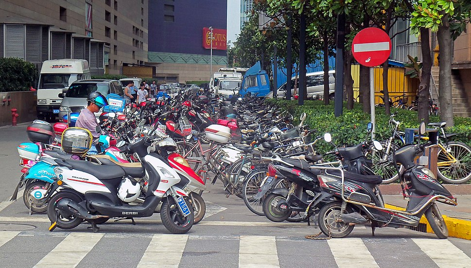 Parked motorbikes in Pudong