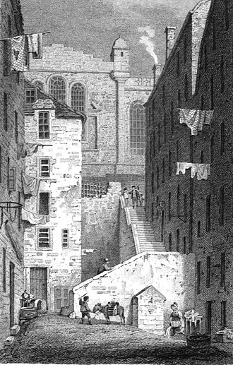 """James Boswell - Boswell's Edinburgh. In his journals he often mentions using the """"Back Stairs"""" behind Parliament Close. His birthplace was the family's town house on the east side of the close, just around the corner at the top of the steps."""