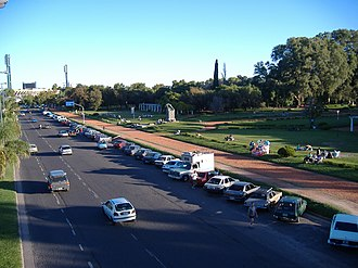 Parque Alem - Part of the park, viewed from a pedestrian bridge.