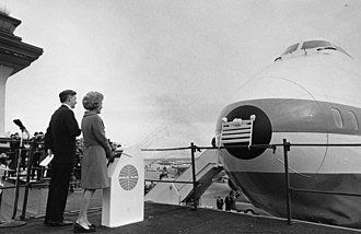 First Lady Pat Nixon christened the first commercial 747 on January 15, 1970 Pat Nixon christens Boeing 747 2749-18.jpg