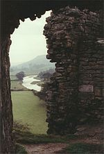 Pendragon Castle looking out at the River Eden (Wiki)