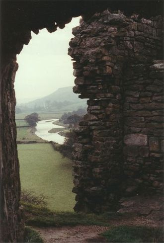 Pendragon Castle - Pendragon Castle - looking down on the River Eden.