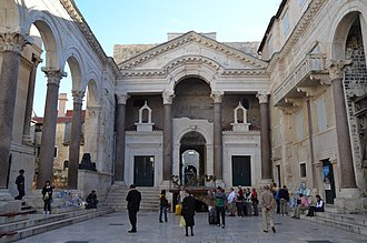 Missorium of Theodosius I - The peristyle in Diocletian's Palace, in modern-day Croatia.